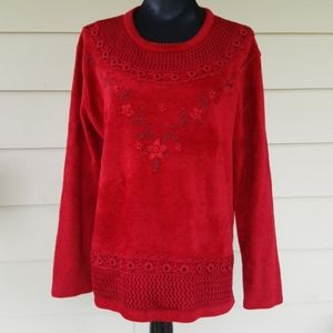 MOFFI Velour & Lace Embroidered Sweater (XL)
